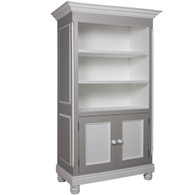 Evan Bookcase Finish: Dior Grey / Snow Door Option: Caning Knobs: Wood Knobs in Snow Finish