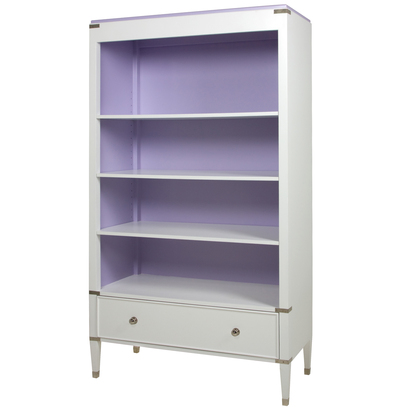 Gramercy Bookcase Body and Drawer Finish: Snow Top,Interior Back and Sides Finish: Lilac Chest Straps: Polished Nickel Toe Caps: Polished Nickel Upgraded Knobs: Polished Nickel Knob #1