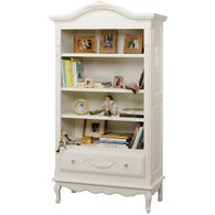 Tall French Bookcase Finish: Antico White Appliqued Moulding Option: AFK Standard Moulding in Antico Knobs: Glass Knobs with Gold Base