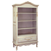 Tall French Bookcase Finish: Versailles Blue Appliqued Moulding Option: AFK Standard Moulding in Blue Knobs: Glass Knobs with Gold Base
