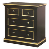 Cody Chest Finish: Black Trim Out: Gold Gilding Knobs: Wood Knobs