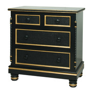 Evan Chest Finish: Black Finish Trim Out: Gold Gilding Caning on Drawer Fronts Knobs: Wood Knobs