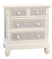 Evan Chest Finish: Antico White Drawer Fronts: Washed Powder Blue Finish Caning on Drawer Fronts Knobs: Wood Knobs