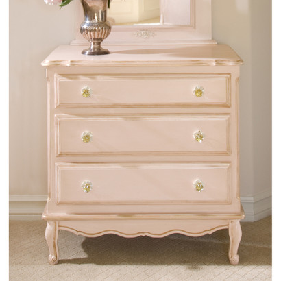 French Chest Finish: Versailles Pink Appliqued Moulding Option: Florets behind knobs in Versailles Creme Knobs: Glass Knobs with Gold Base