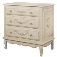 French Chest Finish: Tea-Stain over Antico White Appliqued Moulding Option: AFK Standard Moulding in Tea-Stain over Antico White Knobs: Glass Knobs with Gold Base