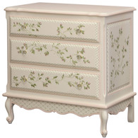 French Chest Finish: Linen Trim Out: Pink Hand Painted Motif: Floral Vines Knobs: Glass Knobs with Gold Base