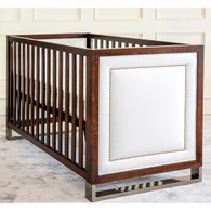 Soho Crib Finish: Antique French Walnut Fabric: AFK Faux Creme Vinyl  Nail Heads: Polish Nickel
