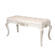 French Bench Finish: Versailles Creme Fabric: AFK Opulence Creme Tufting Option: Button Tufting