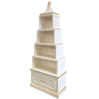 Pagoda Bookcase Finish: Antico White Trim Out: Custom Benjamin Moore Blue Bonnet and Gold Gilding Knobs: Glass Knobs with Gold Base