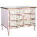 Gabriella Chest Finish: Pink / Linen / Gold Hand Painted Motif: Verona Standard Knobs: Glass Knobs with Gold Base