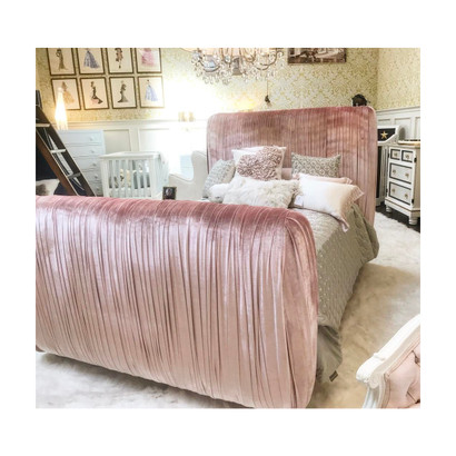 Bed Size: Queen Fabric: AFK Jaclyn Coral Option: Pleated Upholstery Feet Finish: Whisper White