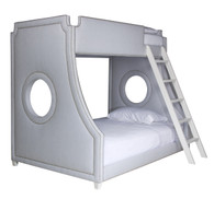 Gramercy Porthole Bunk Bed Bed Size: Twin Over Full Fabric: AFK Hopsack Blue Nail Heads: Polished Nickel Ladder and Feet: Antico White Finish