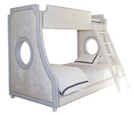 Bed Size: Twin Over Full Main Fabric: AFK Opulence Creme Banding Fabric: AFK Hopsack Blue Nail Heads: Polished Nickel Ladder and Feet Finish: Antico White