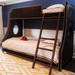 Bed Size: Twin Over Full Fabric: AFK Arizona Black Nail Heads: Polish Brass Ladder and Feet Finish : Walnut