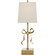 Ellery Bow Table Lamp Finish: Brass Shade: Creme Linen Square