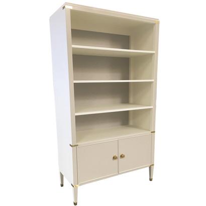 Gramercy Bookcase Body Finish: Whisper Upgraded Second Color on Interior Back: Dior Gray Chest Straps: Polish Brass Toe Caps: Polish Brass Knobs: Standard Knobs Brass Knob #6