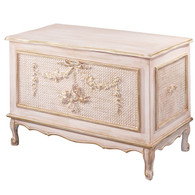 Cherubini Toy Chest Finish: Versailles Creme Appliqued Moulding: Standard Cherubini Moulding With Optional Caning behind Appliqued Moulding