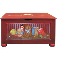 Toy Chest Finish: Red Hand Painted Motif: Antique Toys