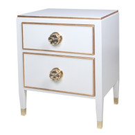 Hollywood Night Table Body Finish: Antico White Interior Drawer Finish: Hot Pink Trim Out: Gold Gilding Toe Caps: Polish Brass Knobs: Large Polish Brass Flower Knobs