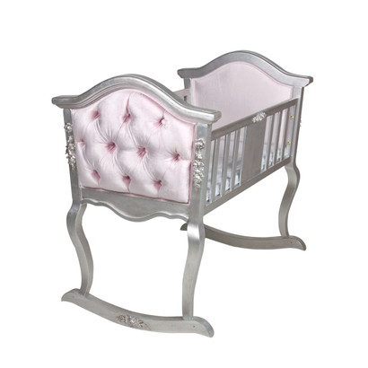Upholstered French Cradle: Silver Gilding / Majestic Lilac Mist