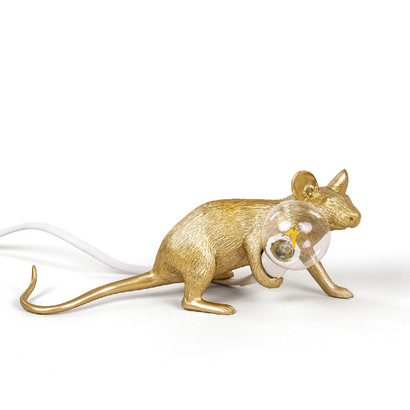 Gold Mouse Lamp Lying Down