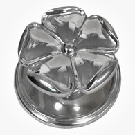 Large Polish Nickel 5-Petal Floral Knob