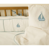 Embroidered Sail Boat Crib Bedding Set