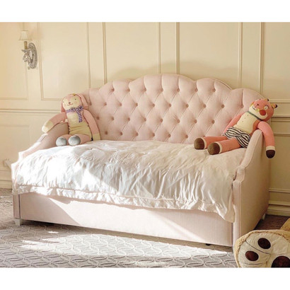 Ellery Sofa Daybed Bed Size: Twin Sofa Daybed Fabric: AFK Delilah Pink and White Check