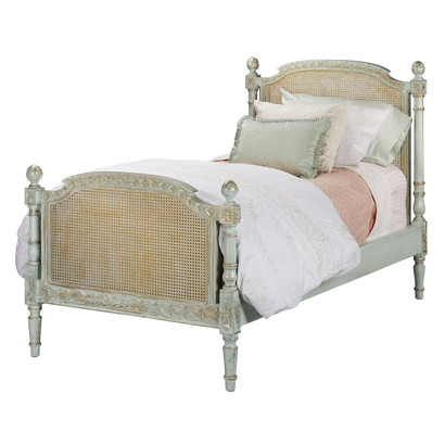 Bed Size: Twin Option: Caning on Head and Footboard Finish: Versailles Blue