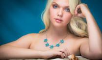 Sleeping Beauty Turquoise Flower Necklace -JSBF