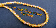 Orange Chalcedony- 4mm Faceted Rounds OCF4