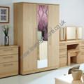 Welcome Furniture - Sherwood - Tall 3 Door Mirror Wardrobe - Choice of Walnut, Maple, Oak or Porcelain Matt Finish
