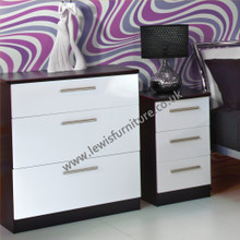 Welcome Furniture Knightsbridge 3 Drawer Deep Chest Black and Gloss White Colours