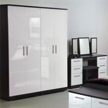 Welcome Furniture Knightsbridge Tall 4 Door Wardrobe - White Gloss and Black