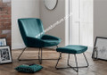 Veluto Accent Chair with matching Footstool - Teal Velvet Feel Fabric
