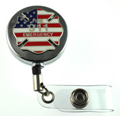 911 Fire Emergency Retractable ID Holder in a chrome