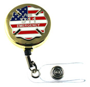 911 Fire Emergency Retractable ID Holder in a gold