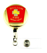 Boston Fire Department Mini Patch ID Holder with a golf  tone ID reel