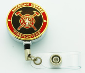 Firefighters Firemen's Retractable ID Reel Badge Holder