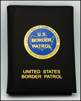 U.S. Border Patrol Dress Leather Badge and Credential Wallet with Medallion