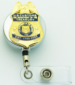 "LegacyLegacy U.S. Customs Service 1.5"" Mini Badge Lapel Pin Retractable ID Holder"