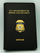 Department of Homeland Security Officer Leather Credential Case with Mini Officer Badge and Embossing