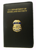 Immigration and Customs Enforcement Special Agent Credential Case with an ICE Special Agent Mini Badge Lapel Pin
