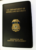 Immigration and Customs Enforcement Intelligence Leather Credential Case with Mini Badge and Embossing