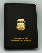 Immigration and Customs Enforcement Special Agent Credential Case, Gold Embossed and affixed with an ICE Special Agent Mini Badge Lapel Pin