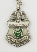 "U.S. Border Patrol Agent's ""Daugther"" Mini Badge and Rose Necklace - Antique Silver"