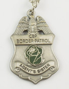"U.S. Border Patrol Agent's ""Sister"" Mini Badge and Rose Necklace - Antique Silver"