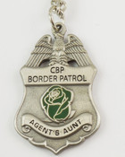 "U.S. Border Patrol Agent's ""Aunt"" Mini Badge and Rose Necklace - Antique Silver"
