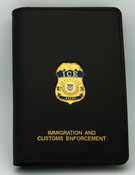 Immigration and Customs Enforcement Special Agent Credential Case, Gold Embossed and affixed with an ICE Agent Mini Badge Lapel Pin