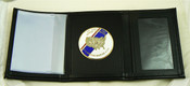 Office of Air and Marine Tri-Fold Wallet, DHS Embossing and OAM Flag Medallion